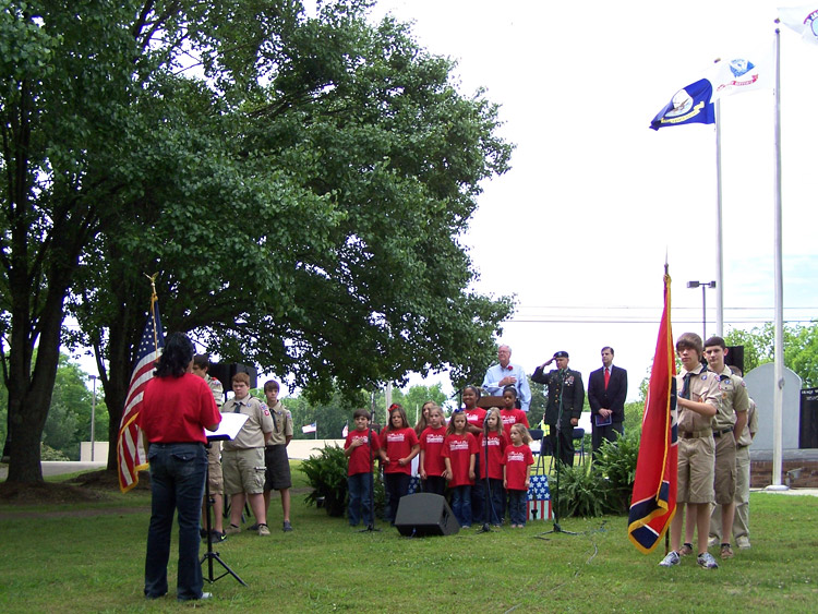 Presentation of Colors by Huntingdon Troop 73 Boy Scouts of America, National Anthem sang by The Dixie Children's Chorus led by Kim Bell-Webb, Director