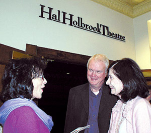 Dixie Carter speaks with guests outside the theatre named for her husband, Hal Holbrook.