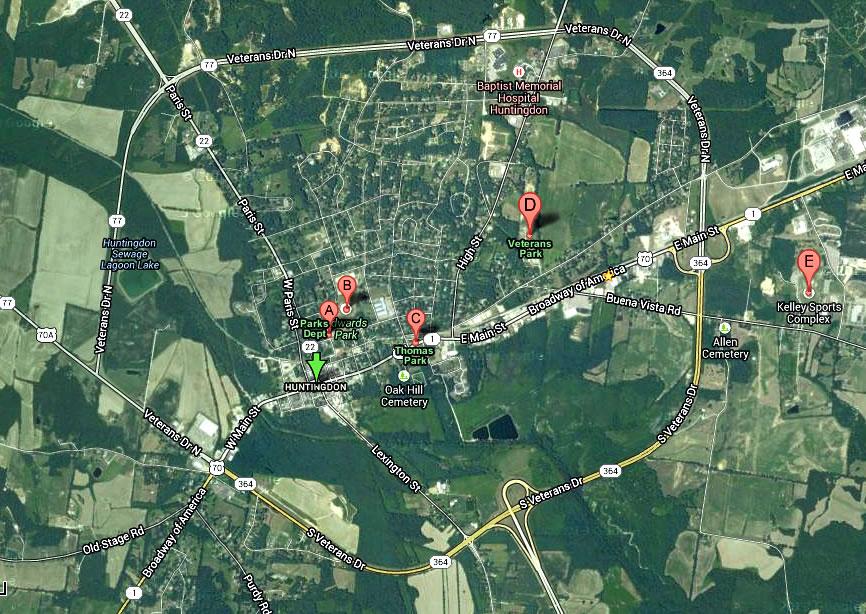 Huntingdon parks map
