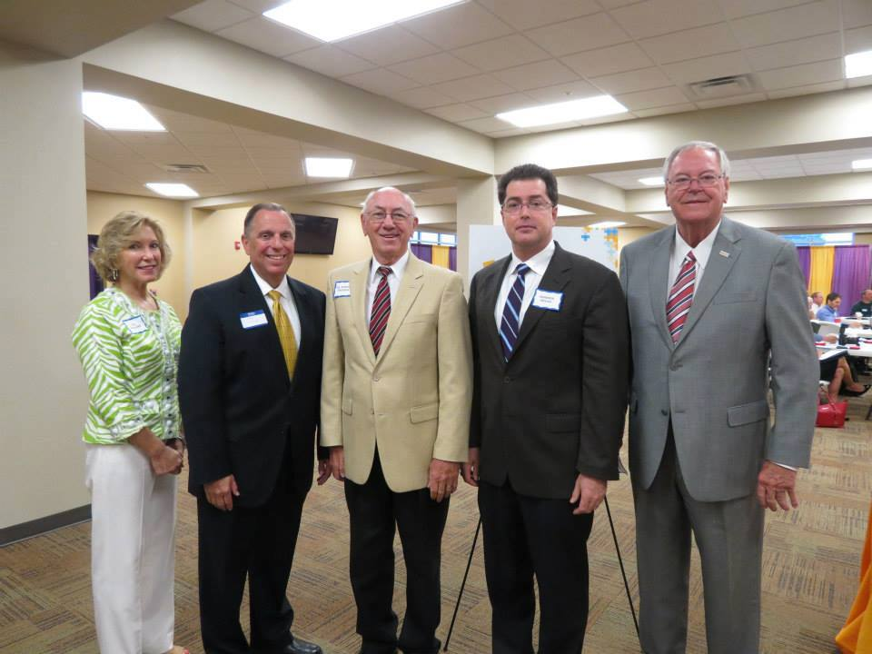 McKenzie Mayor Jill Holland; Carroll County Mayor Kenny McBride; Bethel University President Dr. Robert Prosser; Warren Nevad, UT MTAS/TREEDC; and Huntingdon Mayor Dale Kelly